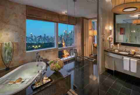 bathroom with amazing view of new york city