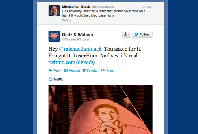Important: Dietz & Watson is now laser etching comedians\' faces onto hams