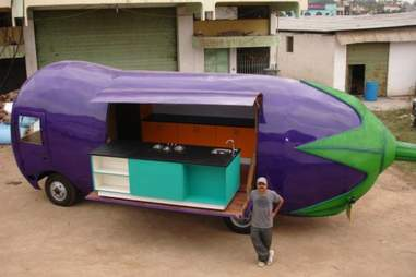 giant aubergine truck